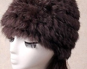 Brown fur Hat , rabbit fur hat, Warm Hat, Christmas gift ideas, hand knit rabbit fur hat