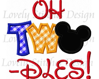 OH TWO Dles Mickey Applique Machine Embroidery Design NO:0526