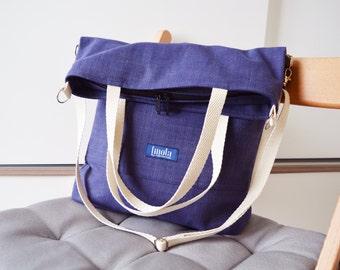 Large fold over canvas tote bag shopping bag casual fold over tote vegan school bag blue-beige book bag variable indigo crossbody messenger