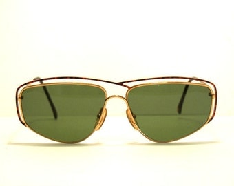 Vintage Sunglasses Casanova mod. C 05 gold plated 24 KT Aviator Double Bridge Cazal Style, Original Made in Italy NOS