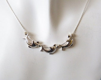 Three Dolphins Silver Necklace