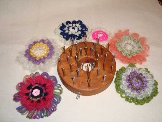 36 Peg Loom Knitting Patterns : 36 Peg Vintage Style Flower Loom 3 Layers of by CottageLooms