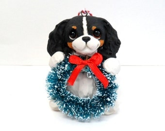Cavalier King Charles Spaniel Christmas Wreath ornament by Raquel at theWRC hand sculpted polymer clay Collectible Personalized DOG ORNAMENT