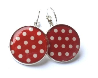 POLKA DOT EARRINGS - Red  Earrings - Red dangle - Pin up girl earrings - Retro earrings - polka dots - Red White Earrings