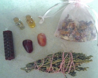 Love Spell Candle Wicca Kit//Wicca//Voodoo//Witchcraft//Candle Magic//Sage//Gemstone//Bees Wax