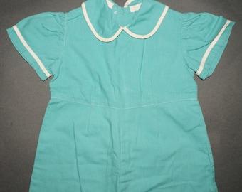 1950s Girls Aqua Cotton Romper Vintage Retro