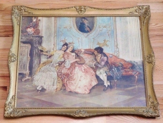 Early 20th Century Print Rococo Style Genre of an Old Master 19th Century European Artist Leopold Schmutzler Period Frame Cottage Chic