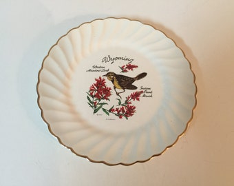 Wyoming State Bird & Flower Collector Plate Western Meadowlark/Indian Paint Brush  by D. Rudeman