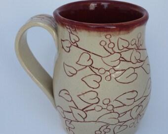 Firebrick red Vine and Leaf Mug
