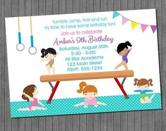 FLASH SALE 50% OFF Gymnastics Birthday Invitations- Diy Print Your Own