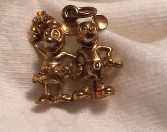 Vintage Disney Mickey & Minnie Mouse Charm - Gold over Sterling Silver