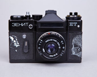Vintage Camera Zenit-ET.SLR Film Camera. Working.Replaced body cover Darth Vader.