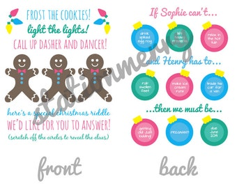10 Double-Sided Christmas-Themed Pregnancy or Gender Announcements - Scratch-off - Personalized