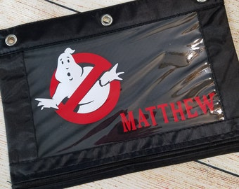 Pencil Pouch - Back To School Zippered Pencil Pouch - Case - GHOSTBUSTERS - Vinyl Decorated Pencil Bag 3 Ring Binder Zippered Pouch