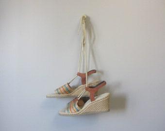 1970s rainbow stripe espadrille sandals | 70's Boho Hippie