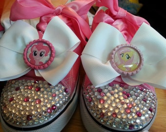 Blinged out Sneakers with Bottle Caps and Bows (LARGER SIZES)