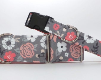 Coral and Grey Floral Dog Collar (Martingale, Buckle or Tag)
