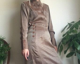 70s Metallic Skirt Suit