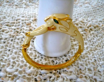 Creamy Enameled Panther Bracelet Exc. Condition