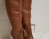 Over the Knee Laced High Heeled Boots Women's Size 7M