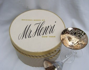 Gold Striped Medium Round Hat Boxes,Mid Century with Roping, Two are in Stock