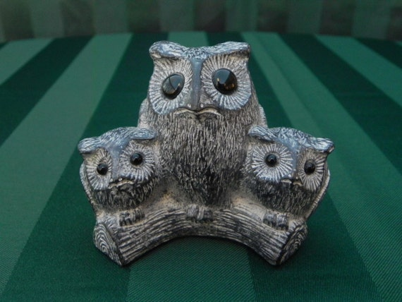 Vintage trio of owls inuit carving wolf original from the