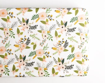 Changing Pad Cover Blush Sprigs and Blooms. Change Pad. Changing Pad. Minky Changing Pad Cover. Floral Changing Pad Cover.
