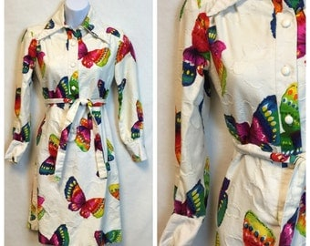 Vintage Butterfly Shirt Dress/ 60's Button Up day Dress
