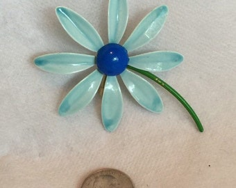 Vintage 60's flower broach/ Blue Daisy pin
