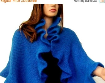 ON SALE Blue Mohair Bridal Wrap Three Sides Ruffle Shawl, Scarf, Handknit, Express Delivery
