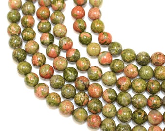 8mm Unakite Natural Stone for Jewellery Making and Malas on a 16 Inch Strand, Approx 48 Beads