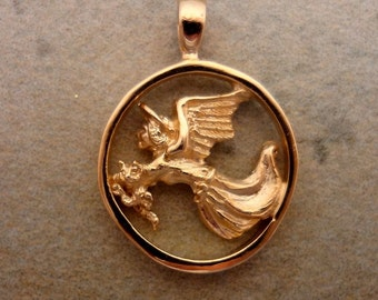 Guardian Angel for Cats Pendant - Handmade in 14k Gold or Sterling Silver