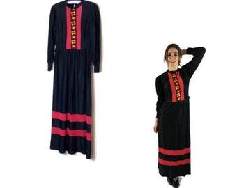 vintage hippie maxi dress // black full length dress // 1970s bohemian dress // boho vitnage maxi dress size 8 - 10