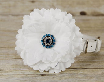 Silk Peony Dog Collar Flower, Dog Collar Accessory, (Collar not included), Collar Attachment, White Flower, Dog Accessory