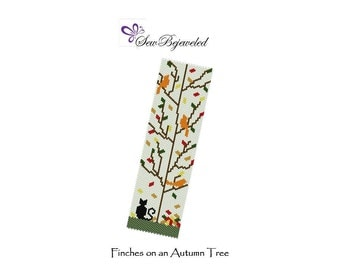Peyote Bracelet Pattern - Finches on an Autumn Tree