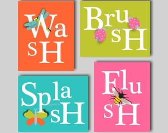 Kids Bath Art. Bath Rules. Bathroom Rules. Bath Sign. Wash. Brush. Splash. Flush. Butterfly Bathroom. Bug Bathroom. Choose Colors KB06