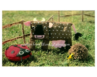 Vintage Toys cow ladybird and hedgehog Knitting Toy Pattern PDF 591 from ToyPatternLand and WonkyZebra