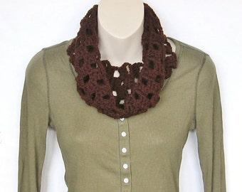 Brown Crochet Cowl Scarf Infinity Scarf Circle Scarf Neckwarmer