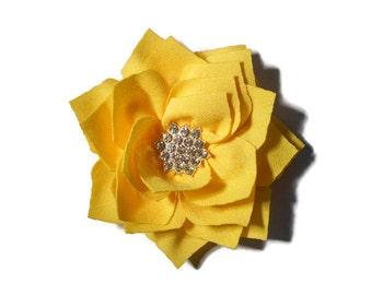 Girls Yellow Hair Clip - Yellow Lotus Flower Clip - Yellow Rhinestone Hair Flower - 3 inch