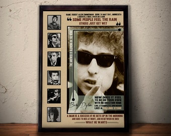 BOB DYLAN Quote Art Print Poster * Retro Vintage Wall Decortation * A1 A2 A3 A4 Sizes Available , Gift For Him Gift For Her