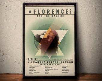 Florence And The Machine Poster, London How Big How Blue How Beautiful Tour Setlist, Concert Poster, Modern Illustration A1 A2 A3 A4 Size