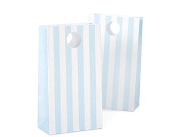 Powder Blue Striped Favor Bags (12 Count) Light Blue
