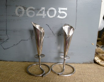 Hans Jensen silver plate calla lily candle holders (set of 2)