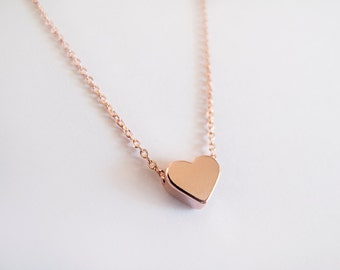Rose Gold Heart Necklace - Gift for her