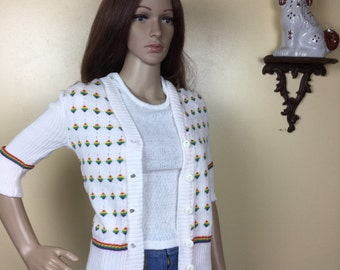Vintage 70s Striped CardigN , 1970s Garland Top , Rare , Preppy Sweater , Hippie 70s Clothing Small