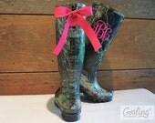 Womens Monogram Camo Rainboots, rain boots with bow, wellies, camo monogram