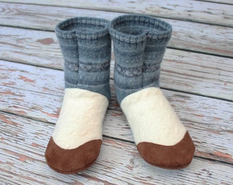 "Ladies Slippers, 8.5-9 US Felted wool - 100% - ""Swedish Dreams"" ~ Eco friendly ~ One Pair - Ready to Ship"