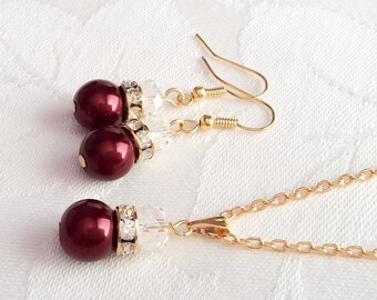 Burgundy Pearl Necklace & Earrings Burgundy Jewelry Bridesmaid Jewelry Wedding