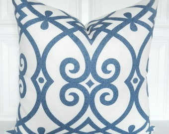 Blue Pillow Cover - Trellis - Decorative Pillow Cover - Blue and Cream -  Throw Pillow - Accent Pillow - Toss Pillow - 18x18, 20x20