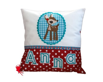 Deer pillow Deer Cushion Cuddly Cushion with name Deer